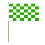 Green and White Checkered Hand Flag - Small